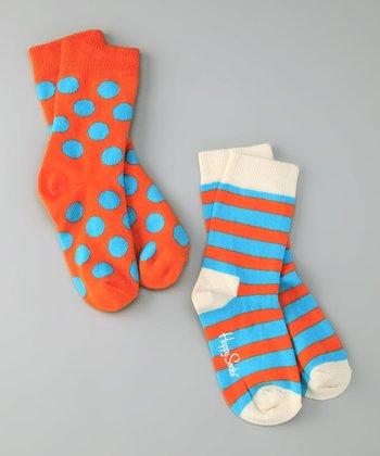 Happy Socks Blue & Orange Stripe Socks Set