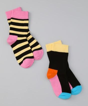 Happy Socks Black & Yellow Stripe Socks Set