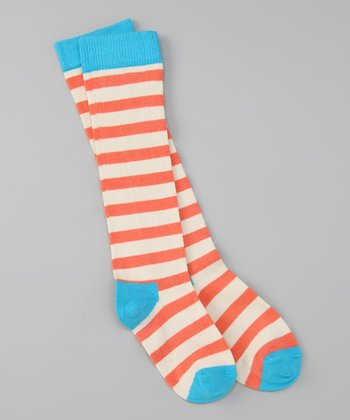 Pink & Blue Stripe Knee-High Socks