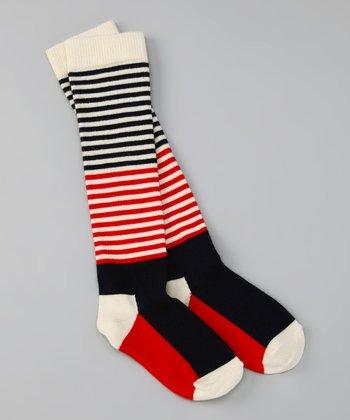 Happy Socks Navy & Red Knee-High Socks