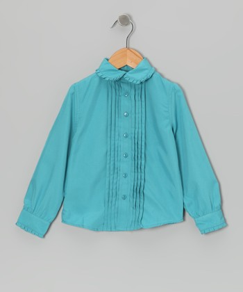 Blue Tuxedo Blouse - Toddler & Girls