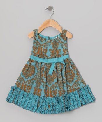 Turquoise & Gold Evelyn Dress - Toddler