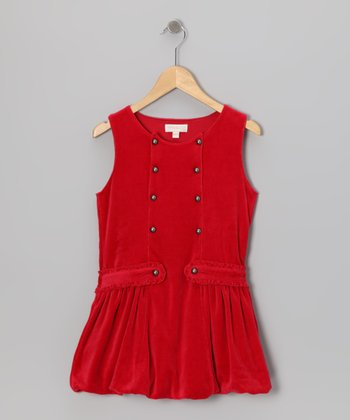 Red Double-Breasted Velour Dress - Infant, Toddler & Girls