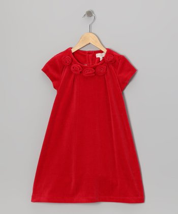 Red Rosette Velour Dress - Toddler