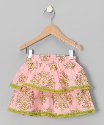 Pink & Green Floral Tiered Ruffle Skirt - Girls