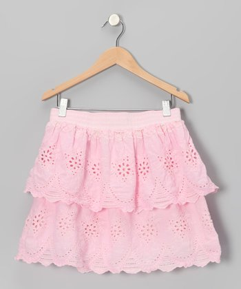 Pink Eyelet Tiered Ruffle Skirt - Toddler & Girls