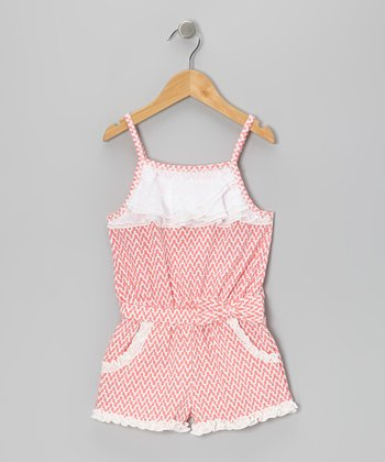 Coral & White Ruffle Romper - Girls