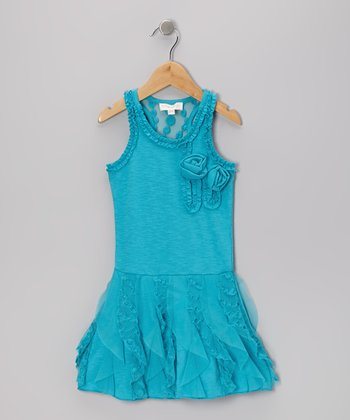 Blue Ruffle Rosette Racerback Dress - Toddler & Girls
