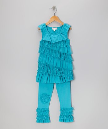 Blue Ruffle Tunic & Leggings - Infant