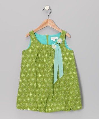 Green Flower Bubble Dress - Girls
