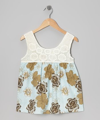 Blue Floral Crocheted Tank - Girls
