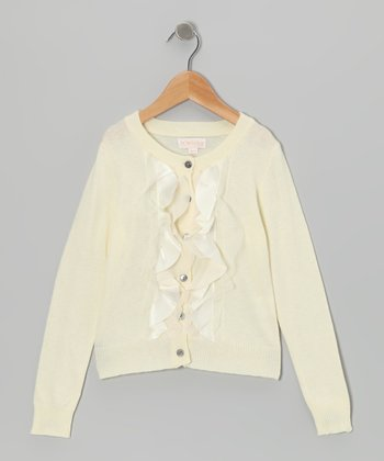 Ivory Ruffle Cardigan - Toddler & Girls
