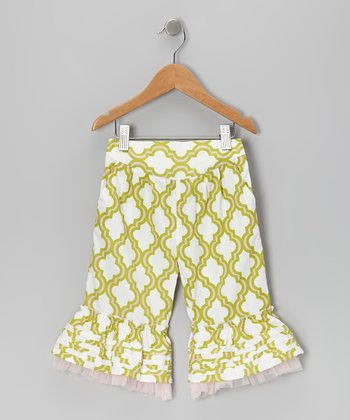 Green Quatrefoil Ruffle Capri Pants - Infant & Girls