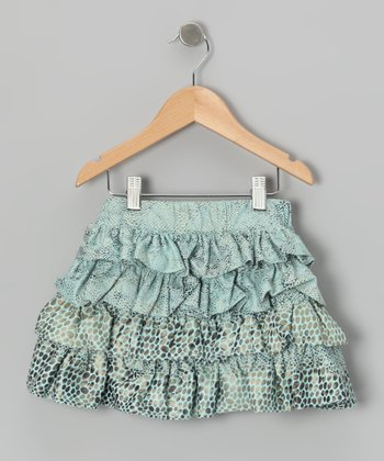Light Blue Diva Tiered Ruffle Skirt - Girls