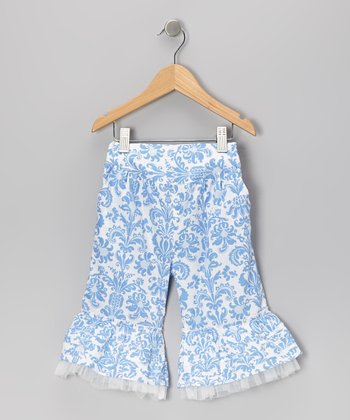Blue & White Ruffle Capri Pants - Infant & Girls