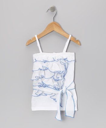 White & Blue Ruffle Tank - Girls