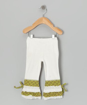 White & Green Ruffle Leggings - Toddler