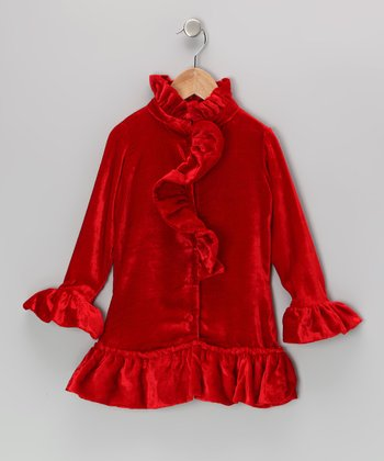 Red Velvet Ruffle Dress - Toddler & Girls