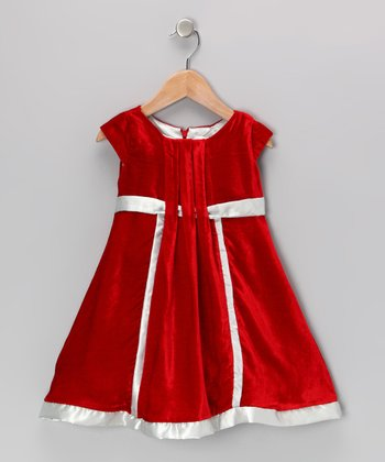 Red Silk-Velvet Blend Fiona Dress - Infant & Toddler