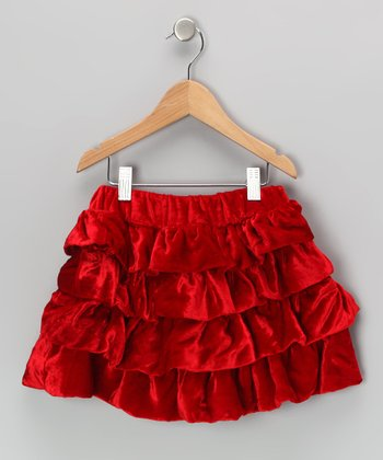 Red Silk-Velvet Blend Ruffle Skirt - Toddler & Girls