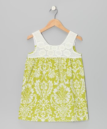 Green Damask Crocheted Dress - Girls