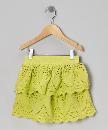 Green Eyelet Tiered Ruffle Skirt - Toddler & Girls