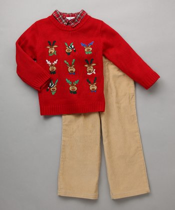 Baby Togs - Red Reindeer Sweater Set
