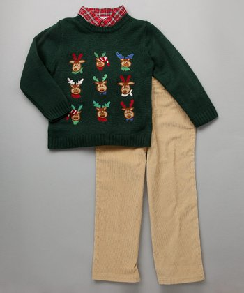 Baby Togs - Green Reindeer Sweater Set