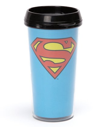 Light Blue Superman Logo Travel Mug