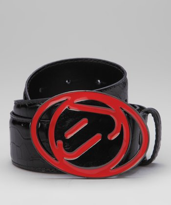 Jet Black & Lava Superstar Leather Belt & Buckle