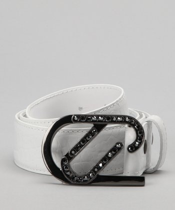 Golf Ball White & Rock Superstar Leather Belt & Buckle