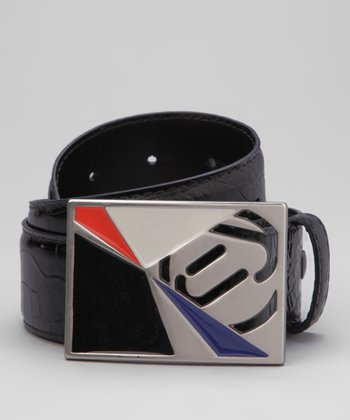 Jet Black & Lava Asymmetric Leather Belt & Buckle