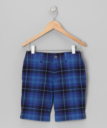 Cornflower Blue Tartan Shorts - Boys