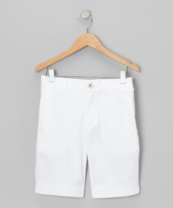 Golf Ball White Tech Shorts - Boys