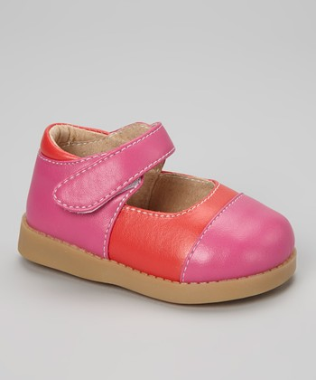 Sneak A' Roos Hot Pink & Red Squeaker Mary Jane