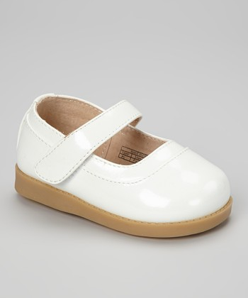 Sneak A' Roos White Patent Squeaker Mary Jane