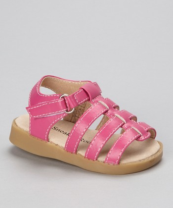 Sneak A' Roos Hot Pink Strappy Squeaker Sandal