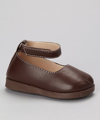 Brown Squeaker Ankle Strap Flat