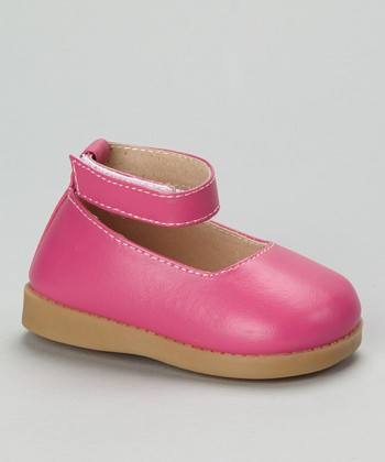 Sneak A' Roos Hot Pink Squeaker Ankle Strap Flat