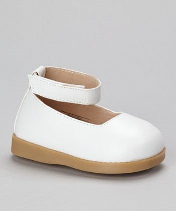Sneak A' Roos White Squeaker Ankle Strap Flat