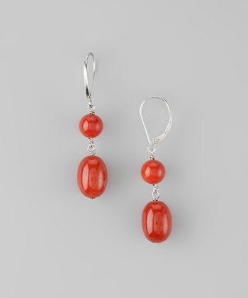 Red Jade Double Nugget Earrings