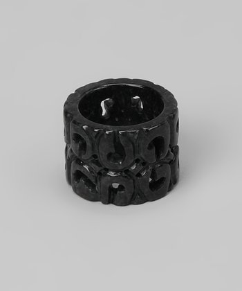 Charcoal Jade Carved Ring