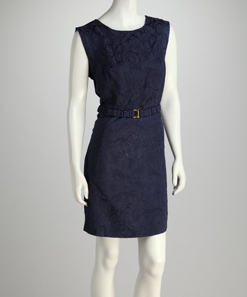 Navy Swirl Belted Sleeveless Dress