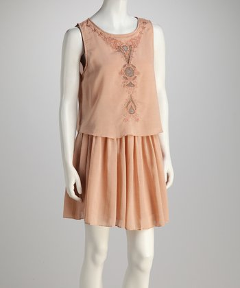 Blush Embroidered Silk-Blend Dress