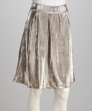 Silver & Taupe Pleated Skirt