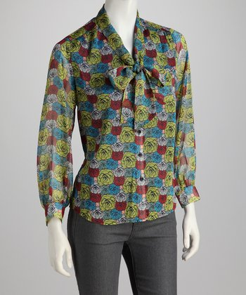 Yellow & Red Poppy Front-Tie Silk Top