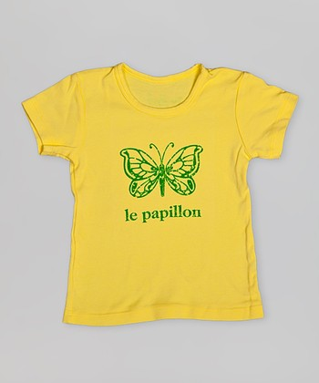 Yellow 'Le Papillon' Tee - Toddler & Girls