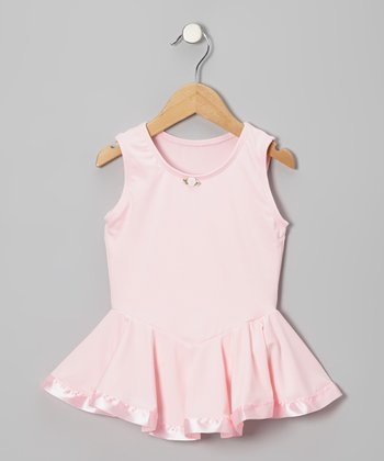 Light Pink Rose Microfiber Skirted Leotard - Toddler & Girls
