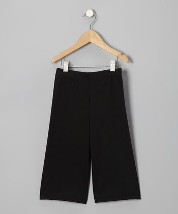 Black Microfiber Jazz Capri Pants - Toddler & Girls