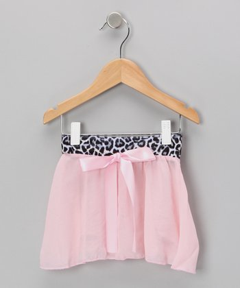 Pink Cheetah Georgette Velvet Skirt - Girls